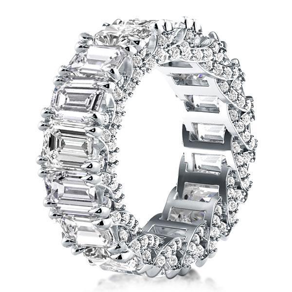 Italo Emerald Eternity Created White Sapphire Wedding Band