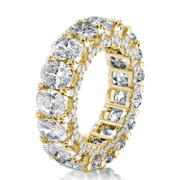 Golden Eternity Double Prong Oval Wedding Band, White