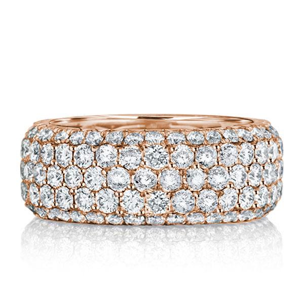 Rose Gold Five Row Eternity Wedding Band(2.75 CT. TW.), White