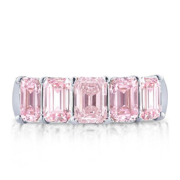 Italo Half Eternity Emerald Created Pink Sapphire Wedding Band, White