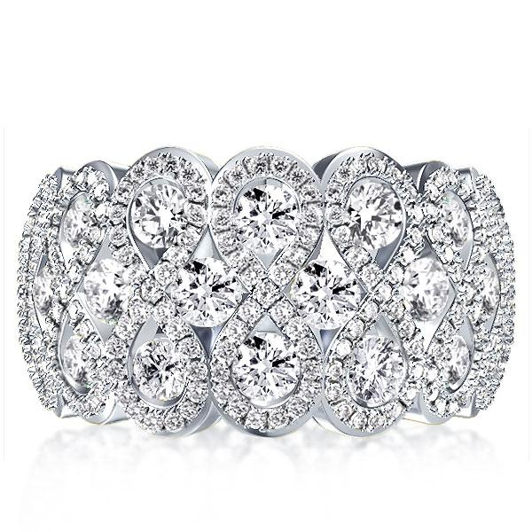 Cluster Wave Created White Sapphire Wedding Band(5.25 CT. TW.)