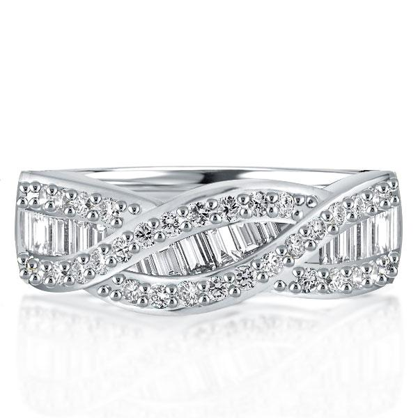 Twist Baguette Created White Sapphire Wedding Band(2.75 CT. TW)