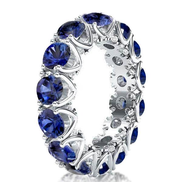 Italo Eternity Round Created Sapphire Wedding Band(6.55 CT.TW), White
