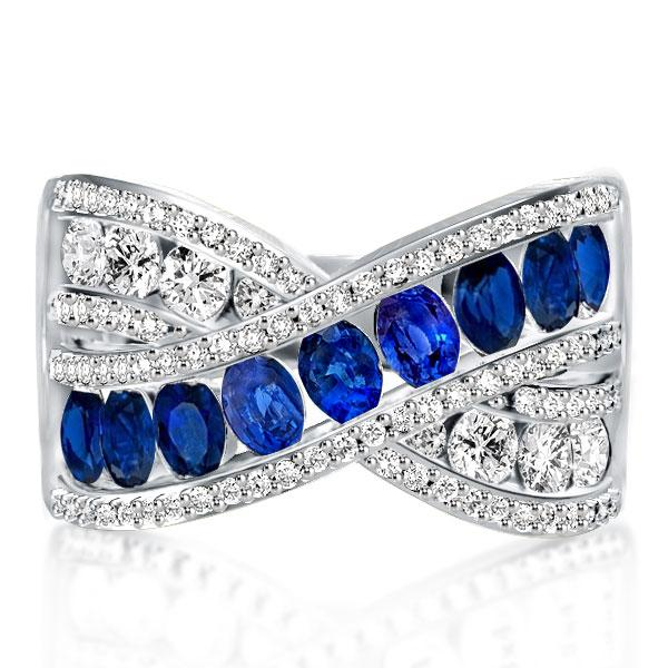 Criss-cross Oval Created Sapphire Wedding Band(5.45 CT. TW), White