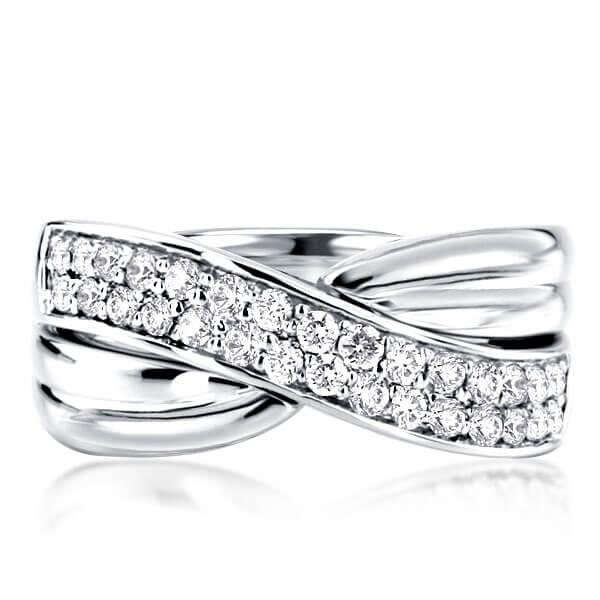 Two Row Criss-cross Created Sapphire Wedding Band (1.80 CT. TW), White