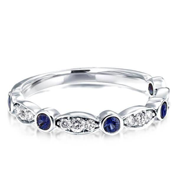 Art Deco Created Sapphire Wedding Band (0.25 CT. TW.), White