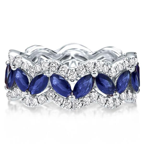 Marquise Wave Created Sapphire Wedding Band (5.42 CT. TW.), White
