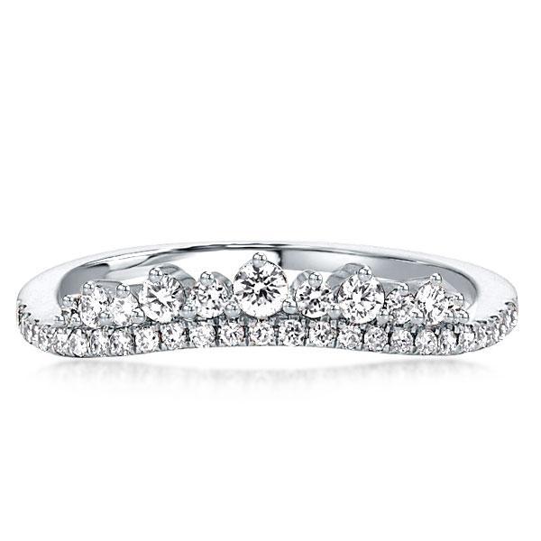 Crown Design Chevron Wedding Band(2.15 CT. TW.), White