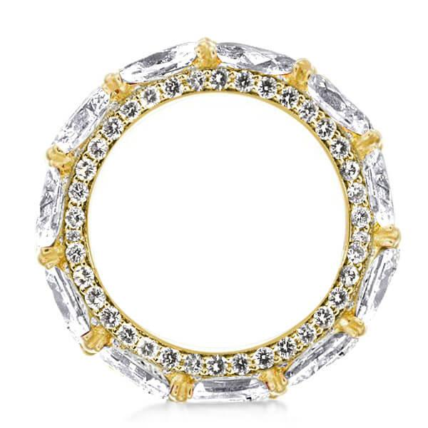 Eternity Marquise Pave Setting Golden Unique Wedding Band, White