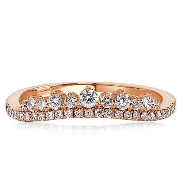 Rose Gold Crown Design Chevron Unique Wedding Band(2.15 CT. TW.), White