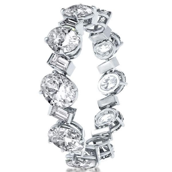 Eternity Oval & Emerald Cut Wedding Band, White
