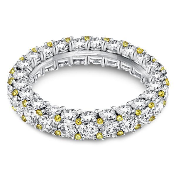 Classic Eternity Yellow Round Cut Wedding Band, White