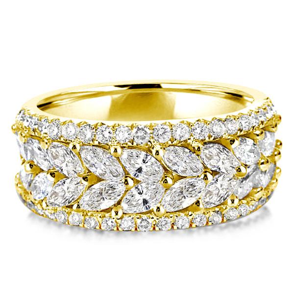 Golden Half Eternity Marquise & Round Wedding Band, White