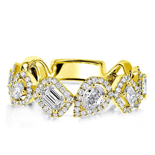 Golden Halo Pear & Emerald Wedding Band, White