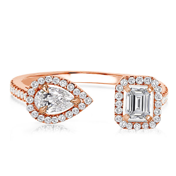 Rose Gold Open Design Halo Pear & Emerald Wedding Band, White