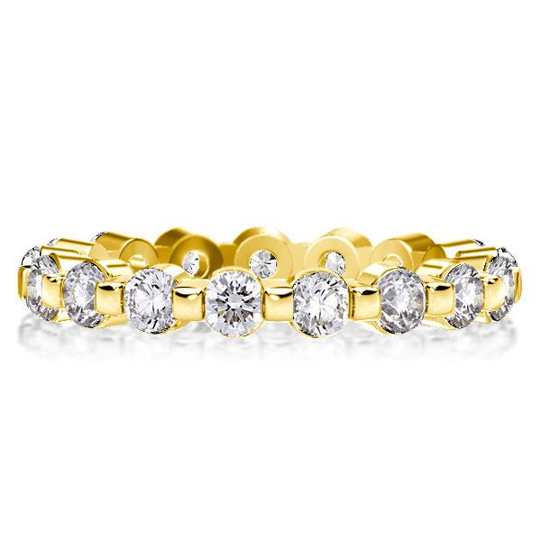 Eternity Golden Round Cut Wedding Band, White