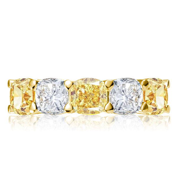 Golden Yellow Cushion Cut Wedding Band, White