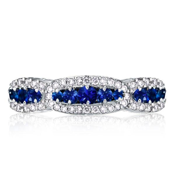 White & Blue Created Sapphire Wedding Band