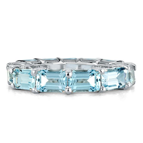 Aquamarine Emerald Eternity Wedding Band