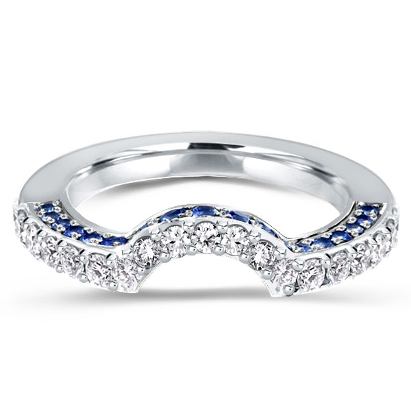 Curved Blue & White Created Sapphire Wedding Band