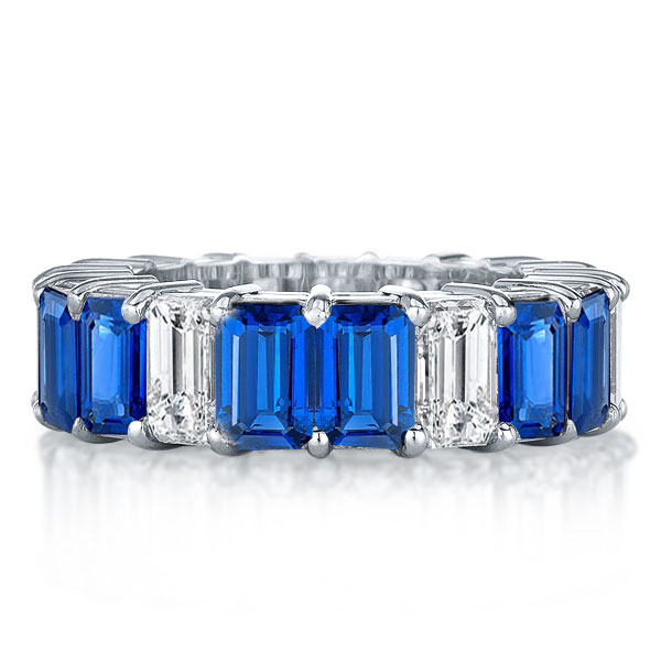 Eternity Blue & White Emerald Cut Wedding Band