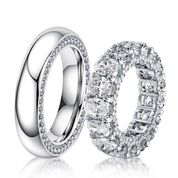 Italo Eternity Oval Created White Sapphire Couple Rings
