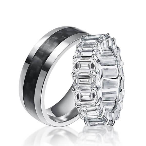 Eternity Emerald Carbon Fibre Couple Rings, White