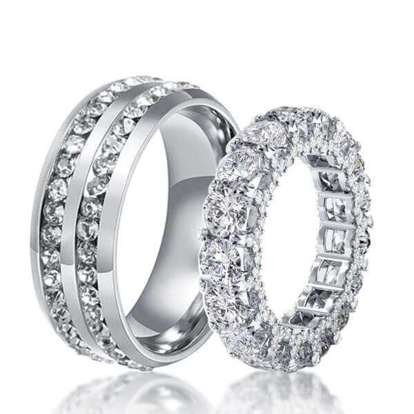 Halo Eternity Created White Sapphire Couple Rings