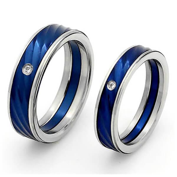 Italo Two Tone Titanium Steel Couple Rings, White