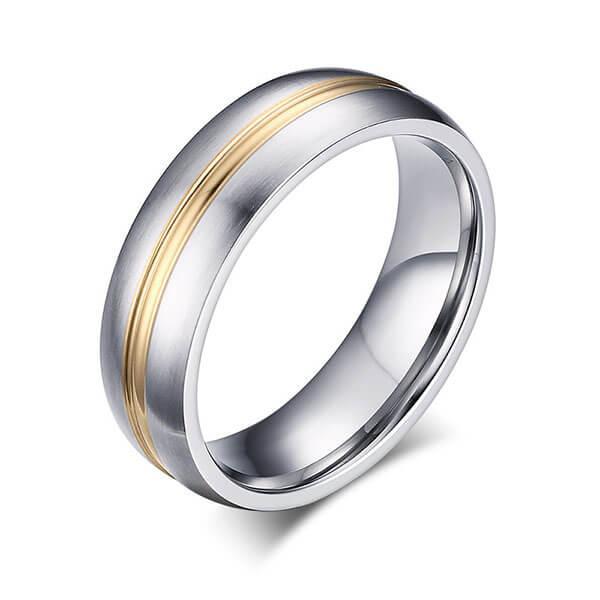 Italo Two Tone Titanium Steel Men's Wedding Band, White