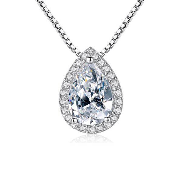 Italo Halo Pear Cut Created White Sapphire Pendant Necklace
