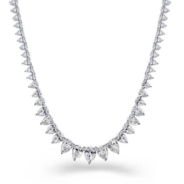 Italo Pear Design Created White Sapphire Tennis Necklace