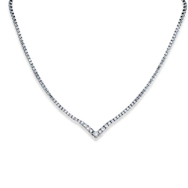 Classic Right Angle Design Tennis Necklace
