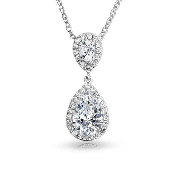 Infinity Halo Pear Cut Created White Sapphire Pendant Necklace