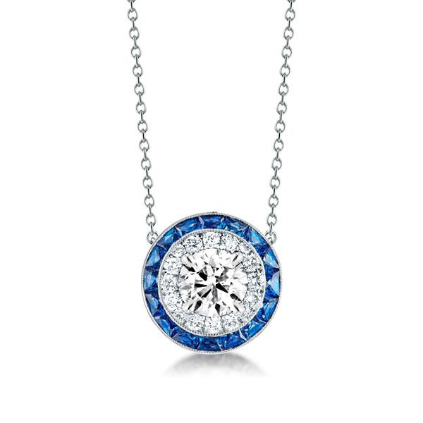 Classic Halo Created Sapphire Pendant Necklace, White