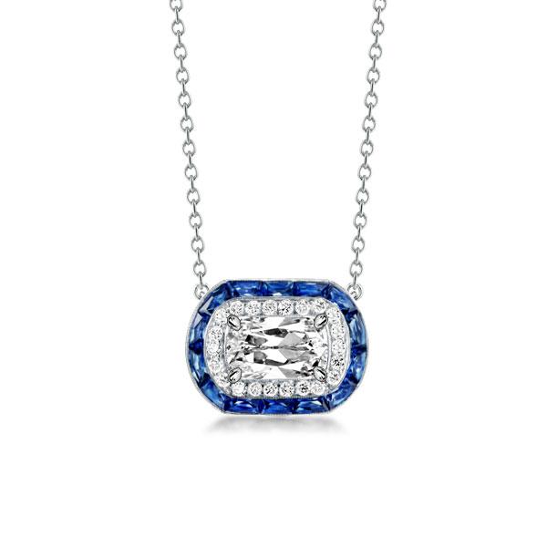Halo Cushion Cut Created Sapphire Pendant Necklace, White
