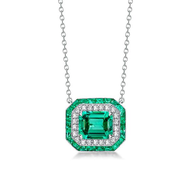 Halo Emerald Cut Created Emerald Sapphire Pendant Necklace, White