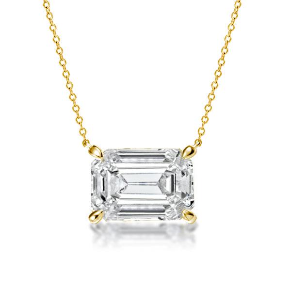 Golden Emerald Cut Pendant Necklace, White