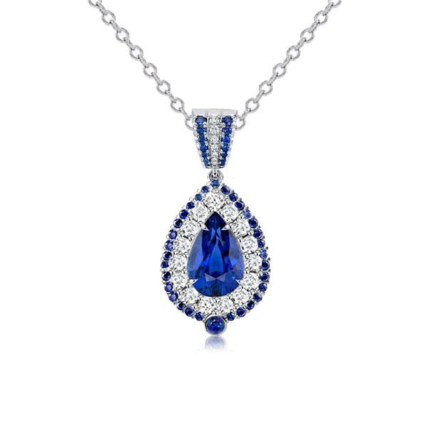 Double Halo Pear Cut Blue Pendant Necklace