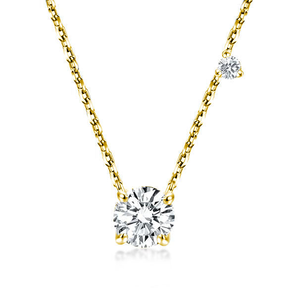 Golden Round Cut Pendant Necklace, White