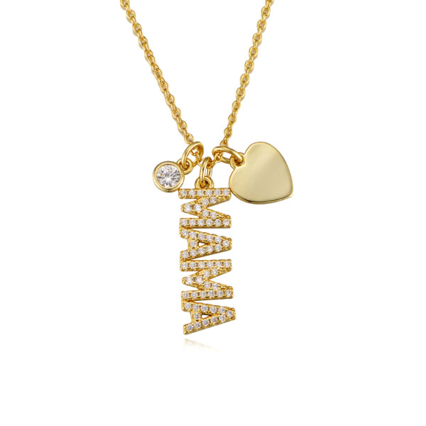 Golden Round Cut Pendant Necklace For Mom, White