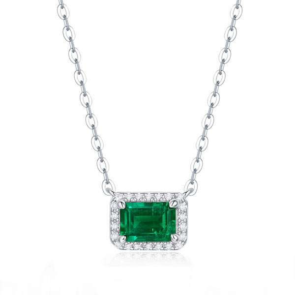Halo Emerald Pendant Necklace, White
