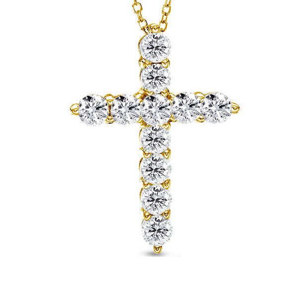 Golden Cross Design Pendant Necklace