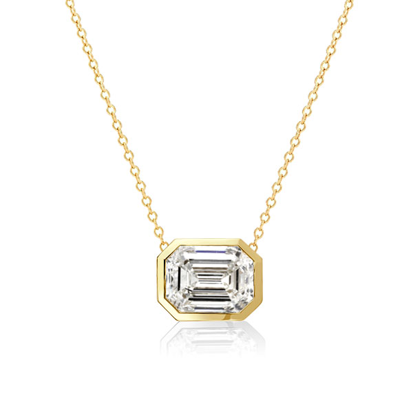 Golden Bezel Emerald Pendant Necklace