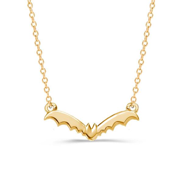 Golden Bat Pendant Necklace