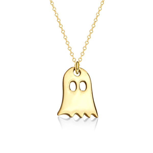 Dainty Golden Ghost Pendant Necklace