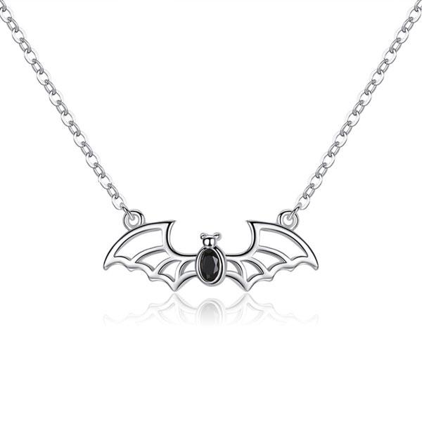 Bezel Black Oval Cut Bat Pendant Necklace