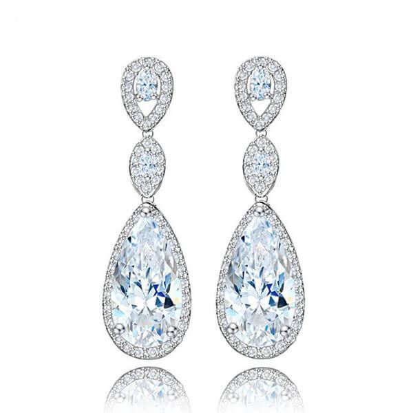 Italo Luxury Halo Pear Created White Sapphire Drop Earrings