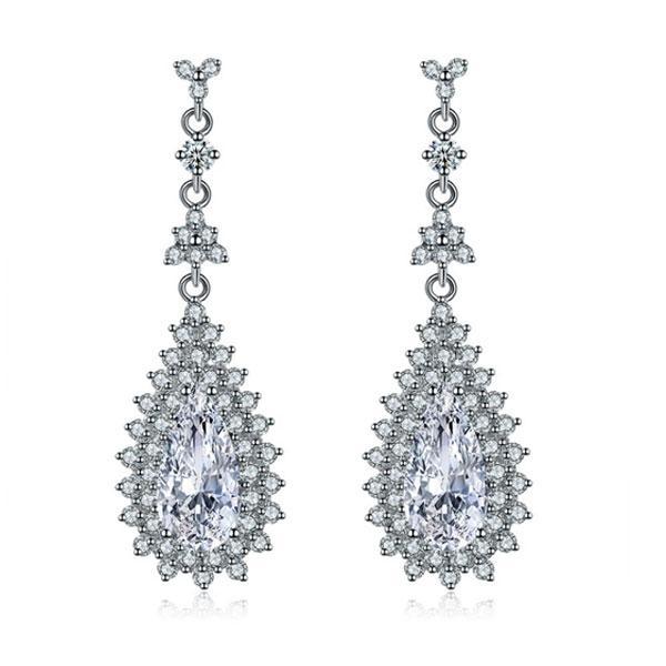 Italo Halo Pear Created White Sapphire Drop Earrings
