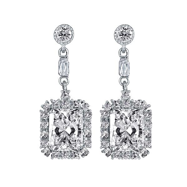 Halo Radiant Created White Sapphire Drop Earrings